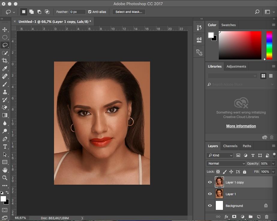 làm trắng da trong photoshop LAB Color