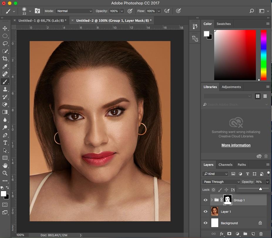 làm trắng da trong photoshop với Channel