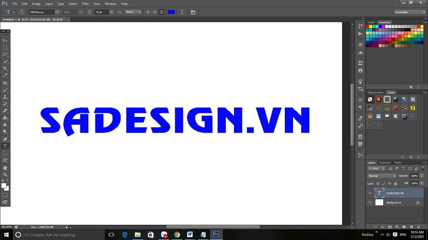 Cách làm mịn đường viền text trong photoshop