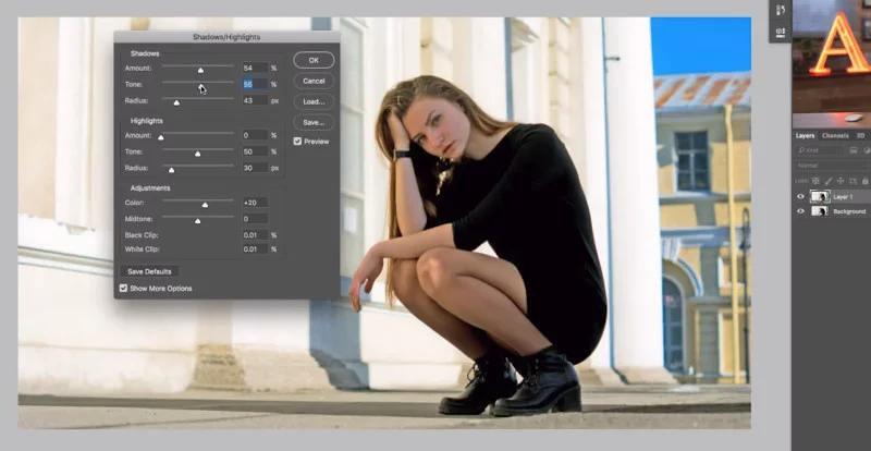 Cách làm sáng vùng tối trong Photoshop với Shadows/Highlights