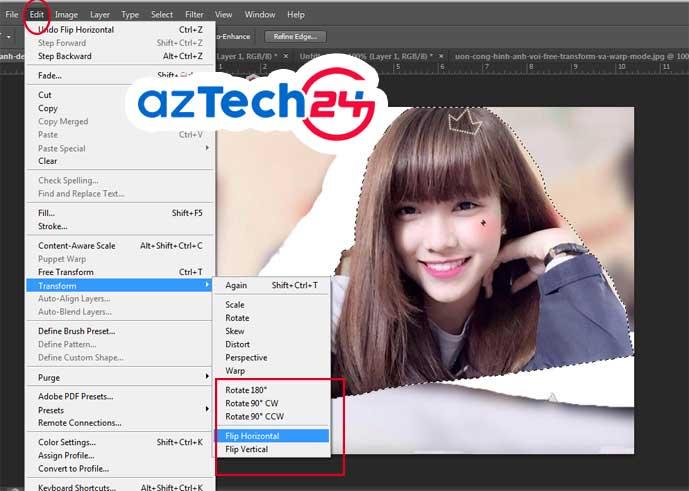 Cách lật ngược ảnh trong photoshop với Transform