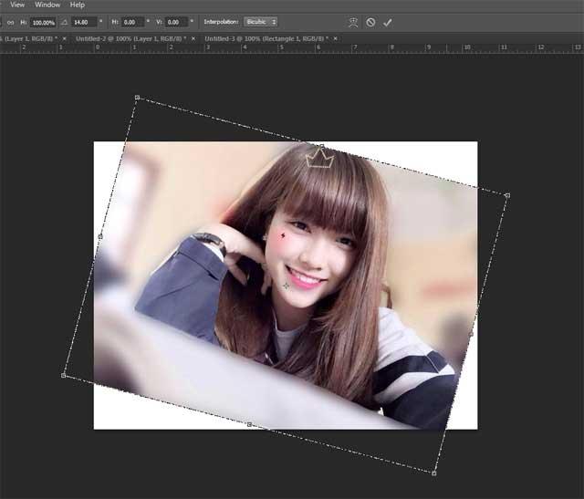 Cách lật ngược ảnh trong photoshop bằng Free Transform