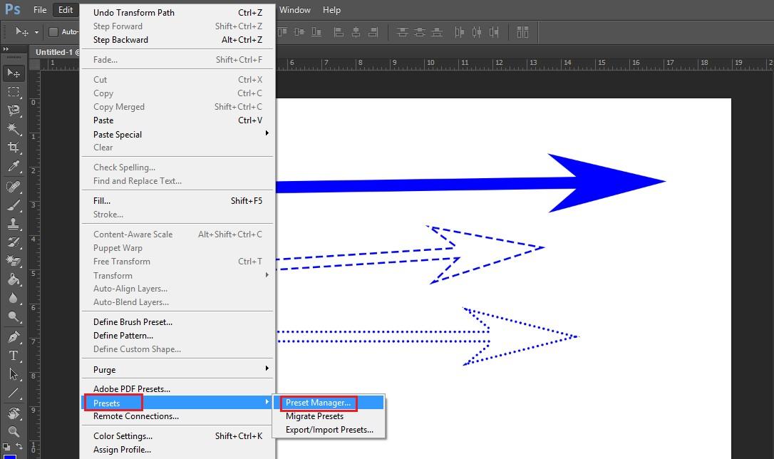 Cách vẽ mũi tên, tạo mũi tên trong Photoshop