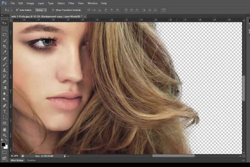 Tách tóc trong Photoshop bằng công cụMultiply