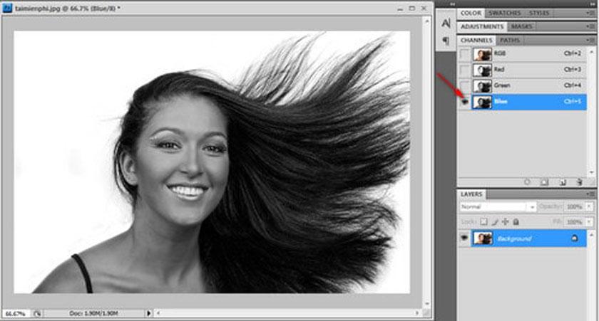 Tách tóc trong Photoshop bằng công cụ Channel