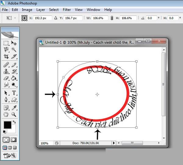 Cách tạo chữ vòng tròn trong photoshop